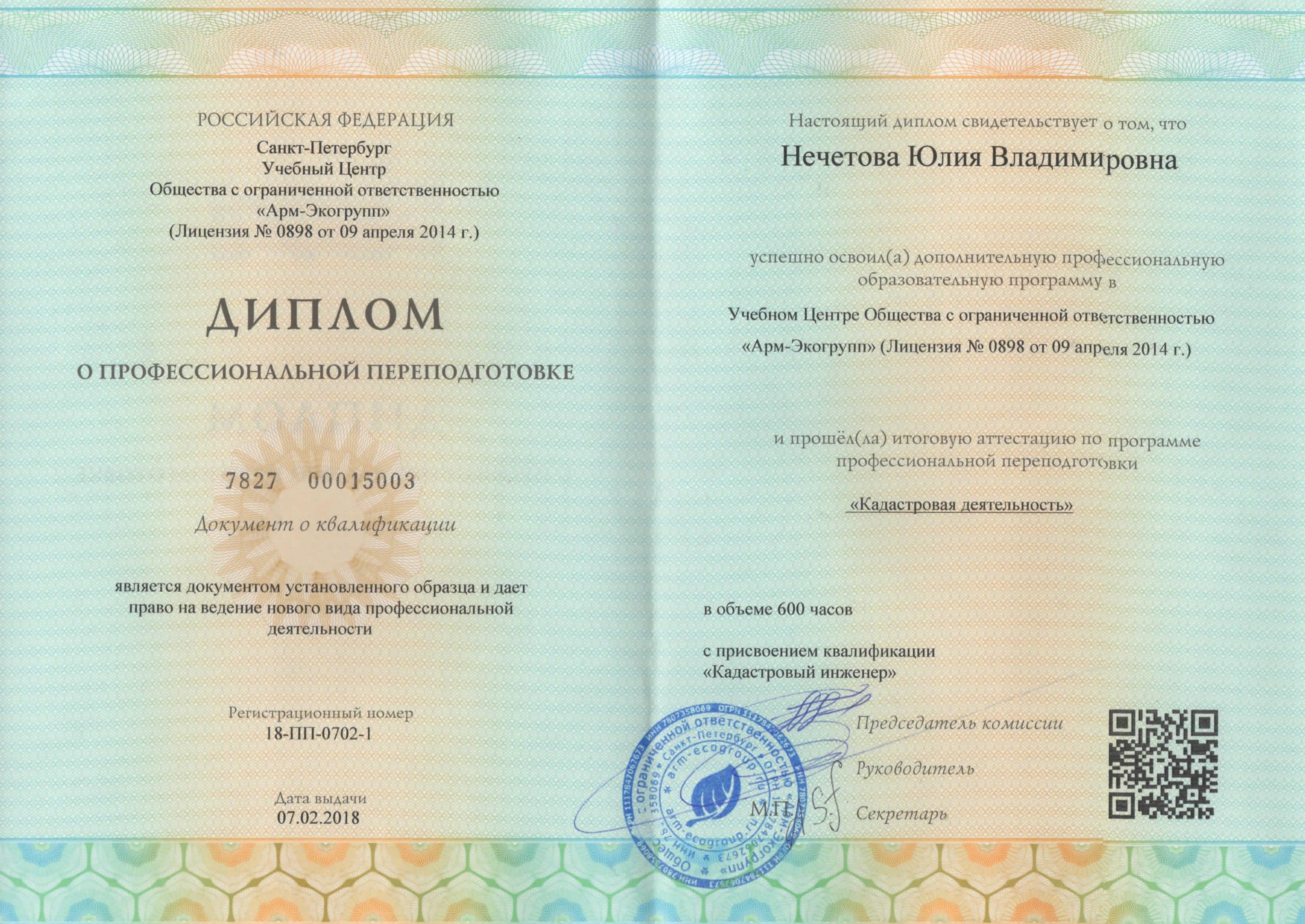 Диплом о проф.переподготовке Нечетова Ю.В.